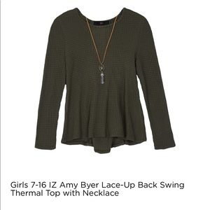Iz Byer Shirts & Tops - Iz Byer lace up back top and necklace 7/8